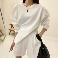 Women's Tracksuits summer sweater set 100% cotton, of two loose pieces, casual tops + short-waisted pants, sweatpants, 2-piece clothes YWAX