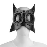 Party Masks 2021 Unisex Adult Black PU Leather Gothic Vintage Mask Halloween Cosplay Prop Carnival Accessories Dance Nightclub Wear