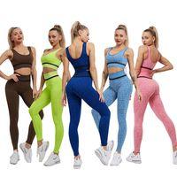 Designer Yoga Sportswear Trainingsanzüge Fitnessanzüge BH Leggings 2 Stück Set Outdoor Outfits Sport Gym Workout Sets Athletic Elastic YOGAWORLD Wear Tech Fleece Top