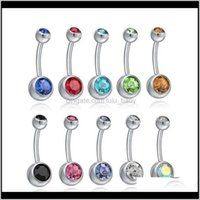 Navel & Bell Body Drop Delivery 2021 Stainless Steel Crystal Piercing Rings Belly Button Ring Women Fashion Jewelry Will And Sandy A2Xiq