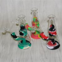Assemble Hookahs Silicone Bong Dab Rigs with quartz banger tobacco bowl silicon water pipe mini glass beaker bongs