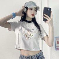 Women's T-Shirt Women Tshirt Cute Angel Printed Vintage 90s Clothing White Crop Top Short Sleeve Tee Female Harajuku Y2k Shirt