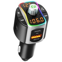 Car Charger FM Transmitter Bluetooth 5.0 BC67 Universal MP3 Audio Music Player Dual USB QC3.0+PD Fast Charging Wireless Handsfree Receiving Kit with LED Backlit