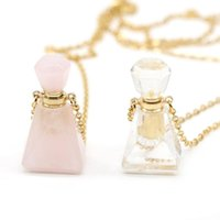 Pendant Necklaces Natural Perfume Bottle Crystal Stone Necklace Rose Quartzs Essential Oil Diffuser Charm Copper Chain Jewelry Gift