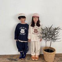 INS Children clothing sets boys girls cute bear printed Long sleeve jupmer casual pants 2pcs Kids cartoon sweatshirt outfits A7803