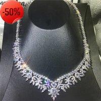 Collier de fleurs Vecalon Gold Blanc Full Marquise Coupé Diamond Party Colliers de mariage pour femmes accessoires bijoux