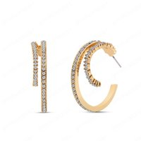 Fashion Double Layer Rhinestone Diamond Hoop Earrings Women Shiny Glass Stones C-Shaped Earring Jewelry Party
