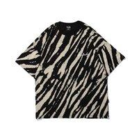 Zebra Pattern Tie Dye Mens T-Shirt Vintage Stampato Stampato da uomo e donna Hip Hop Weird Top Tee Streetwear