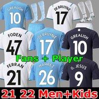 Hayranlar ve oyuncu 21 22 Grealish Futbol Forması Sterling Manchester Ferran Mahrez De Bruyne Foden 2021 Futbol Gömlek Adam Erkekler + Çocuklar Rúben Kitleri G.Jesus City