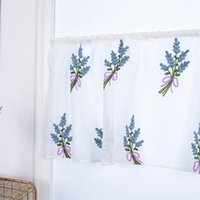 Curtain & Drapes 1PC Bouquet Embroidered Short Curtains For Kitchen Valance Translucent Living Room Bedroom Door Window
