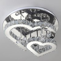 Durable Ceiling Lights Romantic Love Heart Shaped Crystal Indoor Lighting for Living Room Atmospheric Modern Minimalist LED Light Lamps with Remote Control