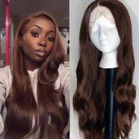 Brasileño ondulado chocolate marrón encaje lleno pelucas humanas cabello natural cabello 200densta pre arranque 13x6 frontal remy