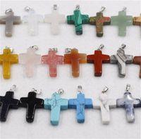 Новые моды смешанные цвета ювелирные изделия натуральный камень ручной работы крест подвеска подвески для ожерелья подвески 292 W2