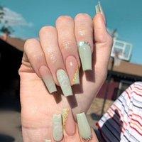 Nail Art Kits 24pcs Box Matcha Rhinestone Long Coffin False Wearable Ballerina Fake Full Cover Tips Press On Nails With Glue