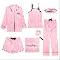 7 Pieces Pajama Set Womens Sleepwears Bedgown Pink Striped Faux Silk Homewear Floral Printed Comfort Soft Summer Sleepwear
