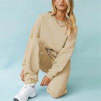 여성 Tracksuits Fleece 후드 스웨터 패션 가을 겨울 숙녀 풀오버 따뜻한 대형 후드 솔리드 자켓 Msfilia 210419
