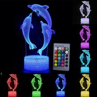 Tabla de control remoto / táctil Lámpara de mesa Dolphin Noche Color Cambio 3D LED luz para niños Regalo OWF9724