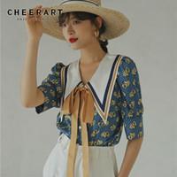 Cheerart Vintage Blouse лето верхняя голубая слойная рукава воротник рубашка женские свободные дизайнерские женские галстуки корейский мода одежда