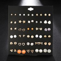 fashion better sell 30 styles creative ear studs flower crystal rhinestone pearl ear studs new pearl earrings