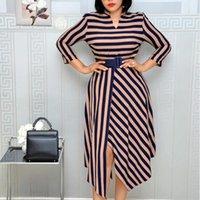 عارضة فساتين أومي أنيقة مخطط طباعة اللباس الخامس الرقبة ميدي أنثى الملابس مكتب سيدة أزياء ربيع الخريف الزي حجم كبير
