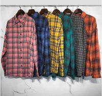 Мужские рубашки 21ss модный бренд PA грудь обезглавлен медведь назад большая буква напечатана плед повседневная рубашка с длинными рукавами