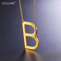 طولاري الأولي المختنق قلادة المرأة الذهب اللون الأبجدية هدية 316L الفولاذ المقاوم للصدأ مجوهرات جانبية إلكتروني B الرجال N004 المختنقون