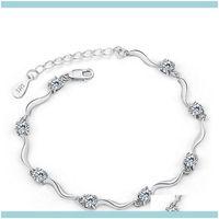 Lien, bracelets de chaîne bijoux Hhywo style minimaliste exquis 925 Sterling Sier Austria Zircon Crystal bracelet bracelet pour femmes cadeaux