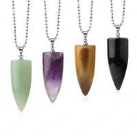 Colar De Pedra Natural Para Homens Bullet Pingentes Cura Cristal Quartzo Lapis Lazuli Ametistas Preto Obsidiana Colliers