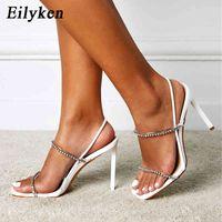 Eilyken - women's white crystal diamond sandals, square needle point high heels, sexy fetishism, women's striptease shoes in 2021 J0607