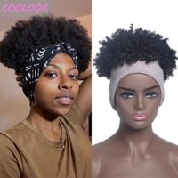 Synthetic Wigs Fluffy Curly Headband For Black Women Short Afro Kinky Turban Wig African American Curls Cosplay Wraps