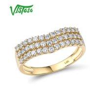 Küme Yüzükler Vistoso Saf 14 K 585 Sarı Altın Yüzük Kadınlar Için Köpüklü Elmas Promise Klasik Nişan Yıldönümü Parti Güzel Takı