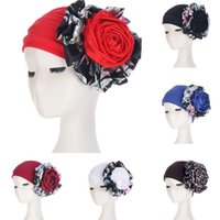 Women Hijabs Floral India Hat Flower Stretchy Beanie Turban Muslim Bonnet Chemo Cap For Cancer Ladies Bandanas African Head Wrap