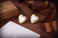 Classic letter design Stud women's pearl Heart-shaped Earrings Ear men Earring Gold Silver Jewelry Accessories High quality fashion Gift for Girls with Box