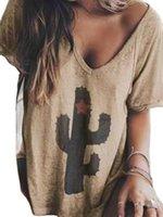 프린터 캐주얼 펜타그램 드레스 선인장 V-Neck Raglan Sve T 셔츠