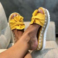 Nueva moda mujeres sandalias de verano plataforma gruesa parte inferior cáñamo cuerda zapatillas arco al aire libre flip-flujos hembra playa diapositivas zapatos