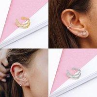 925 Sterling Silver Earmf para las mujeres 1 unids Clip de circón con Encanto en pendientes Ojos de oro sin perforar Pendientes Joyería 1413 Q2