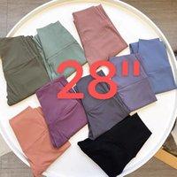 """L-2082 Color sólido Pantalones de mujer Cintura alta Gimnasio Gimnasio Ropa de yoga Leggings Elástico Fitness Señora General 28 """"Mujeres Pantalones deportivos Slim Fit Good Cómodo"""