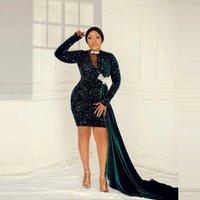 Aso Ebi Style Hunter Green Sequined Short Cocktail Dresses With Side Train Mini Mermaid Prom Dress African Women Formal Party Gowns 2022
