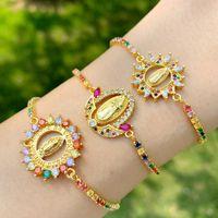 Charme Bracelets Multicolore Vierge Marie pour Femmes Ronde Crystal Pendentif Zirconia Gold Rempli Bijoux Christian Brtc09