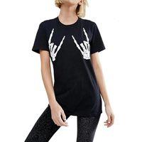 Ромастори мода женщины хлопок пальцев печати череп скелет улица футболки леди топ футболка повседневная тройник фитнес одежда