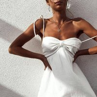Party Mini Beachwear White Loose Women Dress Above Knee Holiday Summer Solid Color Sleeveless slash neck Feitong Casual Chiffon