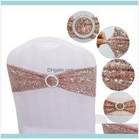 Textiles Textiles Accueil Garden150pcs Qualité Paillequine Chaise Chaise Sashes Gold Gold Stretch Bands avec boucle ronde Drop Drop Drop 2021 2xbpy