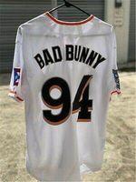 Majeur de baseball Maimi Bad Bad Bunny Blanc avec pavillon Puerto Rico Taille de chemise cousue complète Taille S-3XL de qualité supérieure