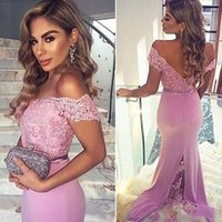 Purple Mermaid Long Bridesmaid Dresses For Wedding Lace Appliqued Off Shoulder Chiffon Formal Party Gowns Maid Of Honor Dresses