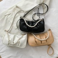 Evening Bags Women Soft Bag PU Leather Pleated Shoulder Underarm Fashion Pearl Purse Handbags Large Capacity Designer Pouch