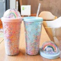 DHL 450ml mignon arc-en-ciel tasse tasse tasse en plastique double avec des pailles Matériel pour animaux de compagnie pour enfants Girlfirend cadeau FY4479