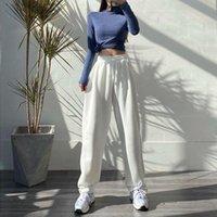 Женские брюки Capris Houzhou Женские спортивные корейские моды негабаритные серые бегать спортивные штаны мешковатый 2021 высокая талия бегуны белые брюки