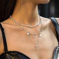 Rétro Cross Cercle Star Tassel Pendentif Colliers Femmes Imitation Perles Perles Chaînes Perles Multi Calque Crystal Dress Robe Collier Bijoux Accessoires