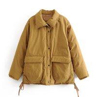 BLSQR Style Winter Jacket Women Lapel Long Sleeves Pocket Zipper Design Female Coat Loose Womens Short Parka 210430