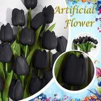 10pc Tulips Real Touch Flowers Artificial Flower Bridal Wedding Bouquet Home Decoration Party Decorations Fake Decorative & Wreaths
